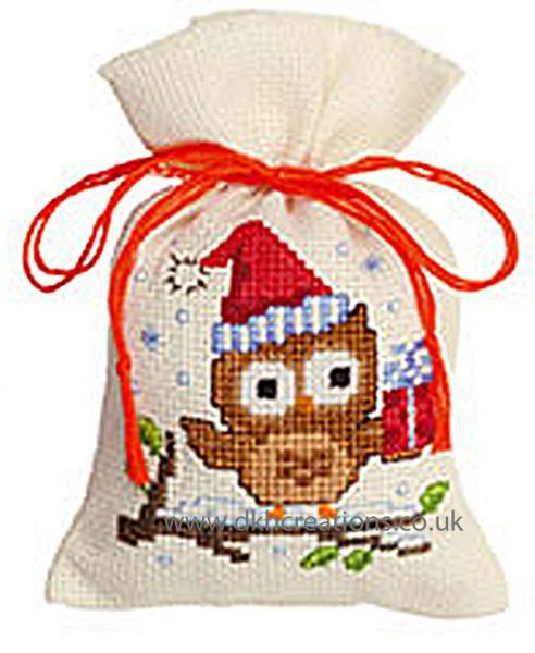 Owlet With A Present Pot Pourri Bag Cross Stitch Kit